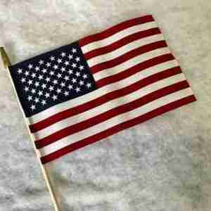 12 inch by 18 inch us flag on 24 inch wood staff